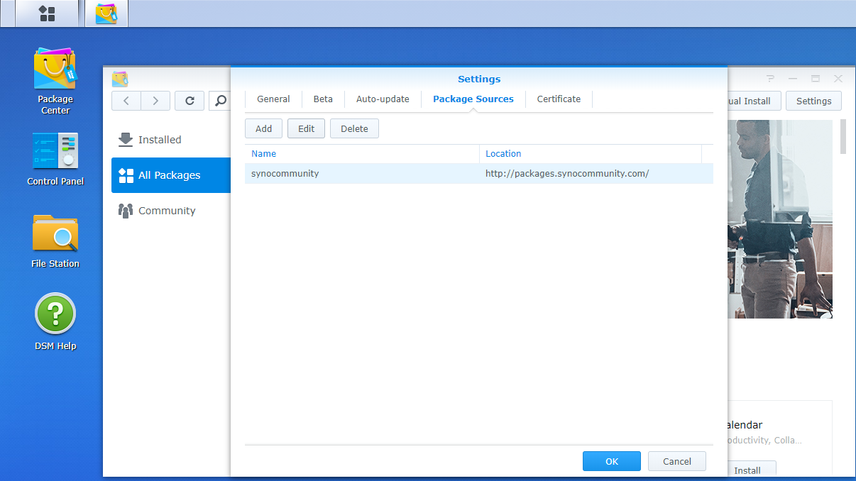 Synology NAS, Package Center, Settings, Add Repository