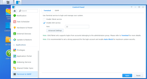 Synology NAS, Terminal & SNMP, Enable SSH Service
