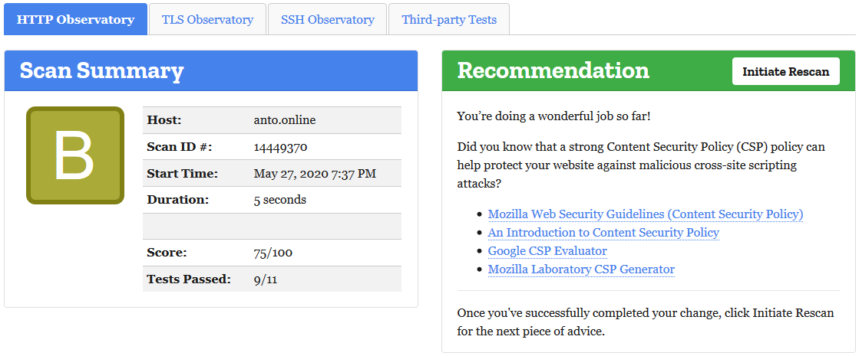 Mozilla Observatory website scan