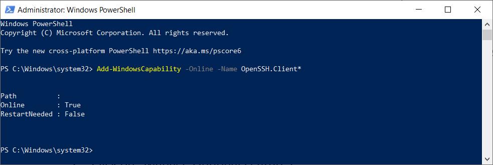 PowerShell Add Windows Capability OpenSSH